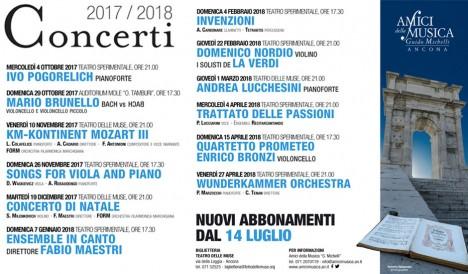 Nuovi abbonamenti Stagione Concertistica 17/18