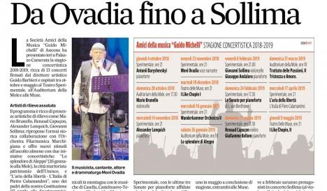 """La Stagione Concertistica 2018/2019 degli Amici della Musica """"Guido Michelli"""""""